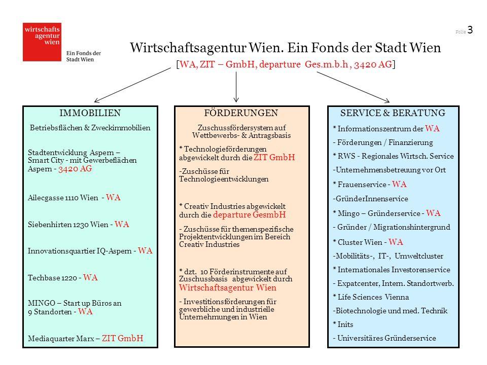 3 Wirtschaftsagentur Wien. Ein Fonds der Stadt Wien [WA, ZIT – GmbH, departure Ges.m.b.h , 3420 AG]
